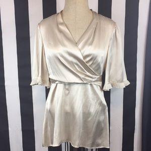Bcbgmaxazria cream silk blouse size Large pleated